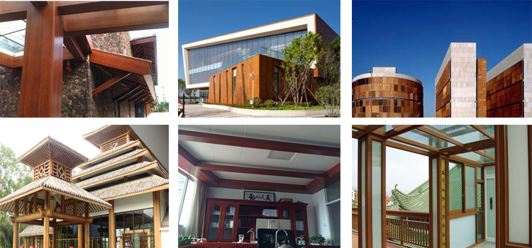 Application of wood grain color coated aluminum coil